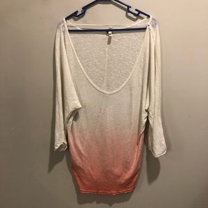 Free People ombré long sleeve shirt white to pink